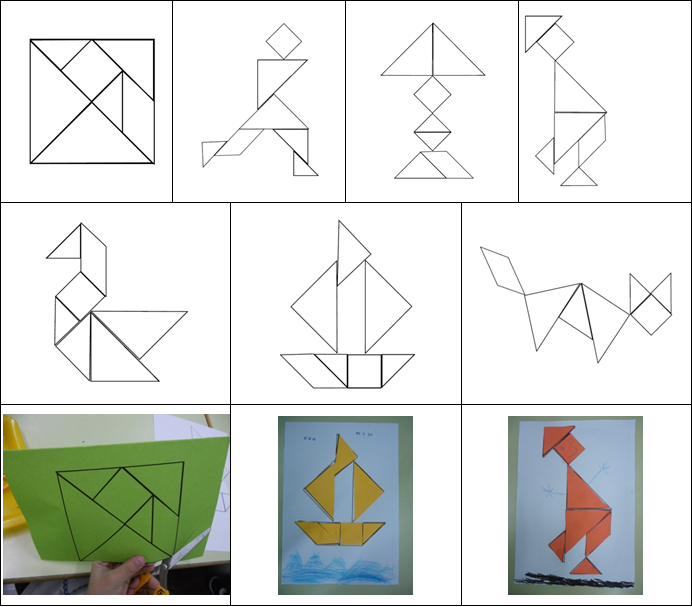 (一)從單線編織到雙線編織,再到多線編織:使用市售的編織工作教材,對初學者及中班的孩子來說有以下操作上的困難:紙條過細、需使用工具操作、一次必須編織7至8條才能完成作品,因此造成幼兒及教師在學習及教學上極大的壓力和挫折。設計階段性的學習教材,可以幫助教師確定幼兒有足夠的能力,才給予進階的教材,孩子的學習和我的教學都變得富有成就感。編織工教材有一定的學習順序,單線編織是第一步,幫助孩子學習穿紙條的技巧及動作序列,熟練單線編織的幼兒可以進階學習縫工及雙線編織。雙線編織讓孩子學習編織由線到面的變化過程,需要同時